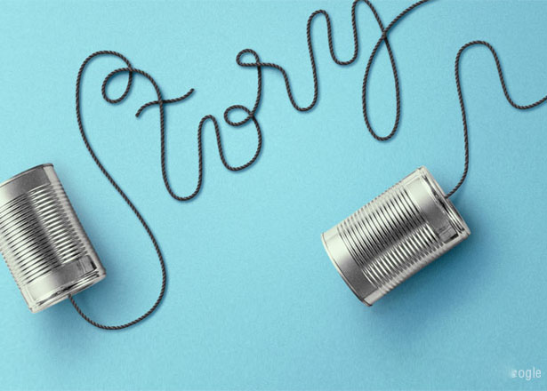 two cans with a thread in the middle forming the word story